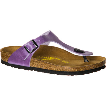 Surf Whether you're exploring Moroccan spice markets or making savvy selections at a thrift boutique, strap on the Birkenstock Women's Gizeh Shiny Leather Sandal for incredible comfort and an antiquated bohemian look. The cork footbed will eventually mold to the shape of your foot to provide ideal arch support and a fully customized fit that encourages correct posture and alignment. - $95.96