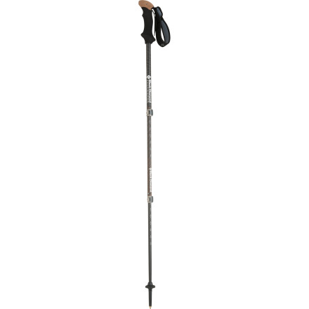 Camp and Hike You could whittle a cumbersome, non-collapsible walking stick from hardwood, or you could just grab the Black Diamond Alpine Carbon Solo Trekking Pole. Made from 100% carbon fiber, this adjustable trekking pole weighs in at a featherlight 9 ounces and has a comfy cork top that enables a variety of grip positions. - $89.95