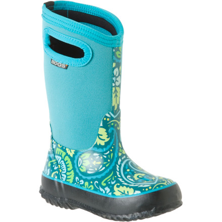When the snow is blowing sideways outside, count on the Bogs Little Girls' Classic Tuscany Boot to keep your little one's feet toasty. Made with durable, waterproof, and hand-lasted rubber, the Tuscany ensures her feet stay dry. Its 7mm of waterproof Neo-Tech insulation keeps her toes comfortable so she can toss snowballs at you all day. - $13.59