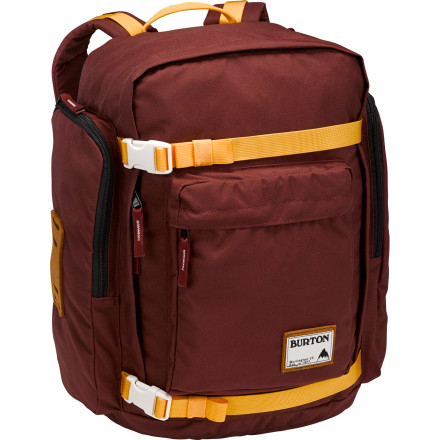 Camp and Hike Show up to campus in style with the Burton Canyon Laptop Backpack. The vintage-inspired oxford weave fabric has a clean, simple look, and leather patches add subtle style details. A padded laptop compartment protects your computer while you skate down to school, and adjustable straps hold your deck when it's time to head to class. - $64.95