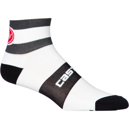 Fitness The Velocissimo DS 6 Socks are the 6cm cuff option from Castelli's polypropylene line of road socks. They are made to feel especially light on your foot. Because the polypropylene yarns don't absorb any water, the Velocissimo 6 is ideal for rides where clouds are looming in the distance, because they dry quickly to keep you comfortable. In order to get the most out of a road shoe, we prefer socks with compressive qualities that minimize the heel's tendency to slip under the effort of hard sprints and climbs. Accordingly, the compressive cuff and mid-foot strap of the Velocissimo DS 6 are particularly excellent at attenuating such unwanted movement by allowing the shoe to cradle the foot uniformly. The Castelli Velocissimo DS 6 Socks are available in the sizes Small/medium, Large/x-large, and XX-Large and in the colors White/acid green, White/anthracite, and White/ocean. Please note that Castelli estimates a useful temperature range of about 63 to 95 degrees Fahrenheit for these socks. - $11.96