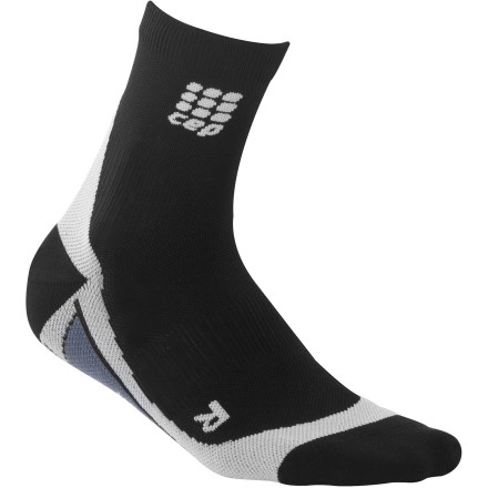Fitness If you already own calf sleeves, or are simply looking for the famous CEP support and performance for your foot and ankle, check out the Men's Dynamic Run Compression Socks. These low-cut socks offer the same performance-enhancing compression at the ankle, foot support, and blister-preventing fit you expect from your CEP knee-highs, in a design that's particularly appropriate for hot weather. Proprio ankle support offers targeted 22mmgh compression that pushes blood towards the heart, which prevents pooling and swelling in the foot Metatarsal compression zone supports the arch and reduces swelling in the foot  Achilles tendon protector offers support and extra padding Ventilation channels at the top of the foot dump excess heat, and hydrophilic finish moves moisture away from your skin Silver ion treatment prevents odors Extra-flat toe seam prevents pressure points Wide, soft band at top ensures a great fit - $24.95
