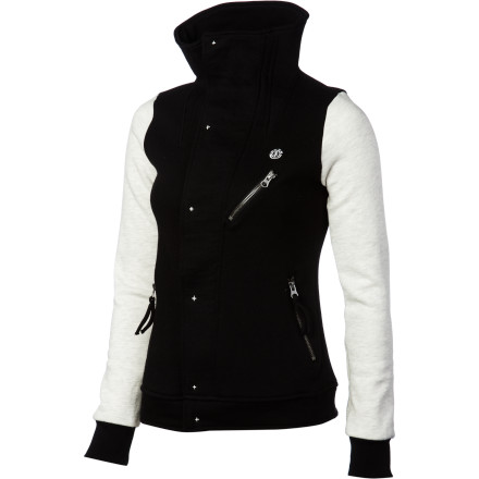Skateboard When the weather isn't quite cold, but not warm either, go for the Element Women's Juliana Fleece Jacket. Its zip and snap-up front blocks out the chill, while the fleece fabric keeps you comfortable as you take in a movie or window-shop. - $69.45