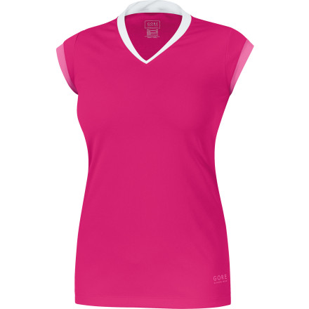 Fitness The ultralight and breathable Gore Running Wear Women's Sunlight 3.0 Shirt looks hot but will keep you from overheating when the warm-weather running gets tough. Made with high-tech microfiber that wicks away sweat and dries in a flash, this durable top will keep you dry and cool. Flatlock shifted seams prevents chafing, and stretchy construction allows free mobility. Contrast seams, a mock layered look, and a funky tattoo-style graphic give you a sporty edge that matches your fun, hard-driving spirit. - $58.95