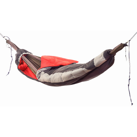 Camp and Hike The Grand Trunk Hammock Compatible Sleeping Bag lets you sleep soundly and comfortably in your hammock. While most sleeping bags rest on top of the hammock, which crushes the insulation underneath you, this 32-degree sleeping bag's pass-through system means the sleeping bag wraps around you and and your hammock to create a warm, swinging nest that doesn't squish the insulation on the bottom. - $189.95