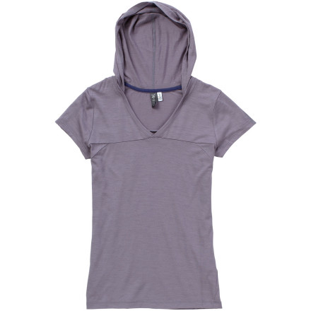 The Ibex Women's Rosa Rugosa Hooded Short-Sleeve Shirt supplies stellar comfort and warmth on cool spring hikes up in the mountains or during outdoor lunches at your local caf''. - $84.95