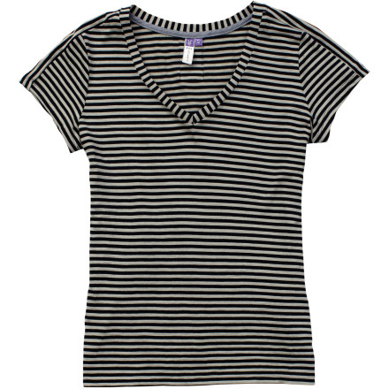 Camp and Hike Pull on the Ibex Women's Stripe Short-Sleeve T-Shirt and revel in its soft feel and odor-resistant properties while you hike, take a spin on your bike, or window shop. - $84.95