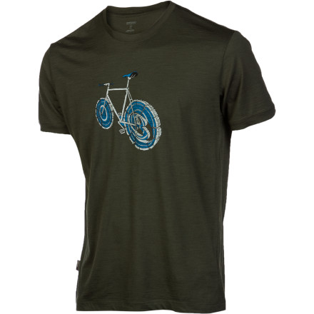 Elevate your T-shirt selection beyond the standard cotton fare with the Icebreaker Men's Artist Collection Logbike Tech Lite T-Shirt. The lightweight merino wool jersey is soft, itch-free, and naturally odor resistant so you can pedal downtown without any fear of impending man stink. - $74.95