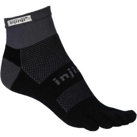 Fitness Go with the original. The Injinji Run Original Weight Coolmax Mini-Crew Toe Sock delivers maximum comfort with a minimalist feel. With separate toe sleeves to accommodate barefoot running style, this sock lets you keep natural splay and movement while providing protection against blisters and managing moisture with ultra-breathable, sweat-wicking CoolMax construction. - $11.95
