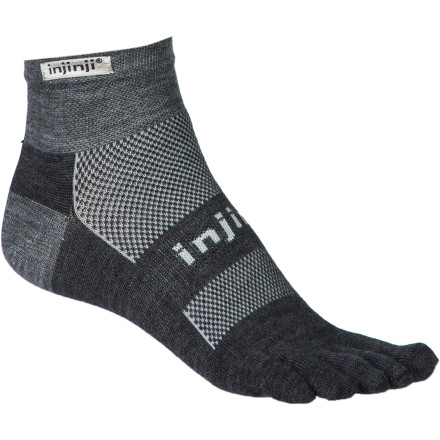 Fitness For cold-weather running, pull on the insulating, moisture-managing Injinji Run Original Weight NuWool Mini-Crew Toe Sock. Separate toe sleeves allow natural splay, alignment, and movement for improved muscle strength in the leg and foot. NuWool seamless construction wicks away sweat and breathes for cool, dry comfort and blister protection to keep you happy and comfy on the long haul. - $14.95