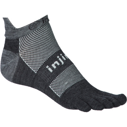 Fitness Get the most out of your run in the Injinji Run Original Weight NuWool No-Show Toe Sock, with toe sleeves for barefoot-like performance that builds those important stabilizing foot and leg muscles. Seamless construction and NuWool moisture-management prevent painful blisters or hot spots and keep foot dry, cool, and comfortable. So all you have to do is focus on the crisp fresh air and the quiet of your graceful stride. - $14.95