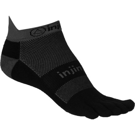 Fitness Minimal coverage with barefoot performance and shock-absorbent padding make the Injinji Run Midweight Coolmax No-Show Toe Sock a versatile choice for runners who want free, natural-moving toes and moisture-managing blister protection. Individual toe sleeves, cushioned 360-degree construction, and sweat-wicking, breathable CoolMax keep you cool, dry and comfortable for the long run. - $13.95