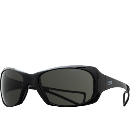 Camp and Hike The Julbo Davina Sunglasses are sized for girls between six and ten years old, with a wrap-around shape for peripheral protection and flexible temples that sit comfortably even underneath hats or helmets. - $40.46
