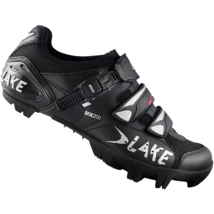MTB Lake's MX200 Shoes combine a stealthy all-black look with a straightforward design and durable, no-fuss features. This translates to you spending less time adjusting your shoes, and more time outside pedaling your bike. Lake constructed the uppers of its CX200 shoes with its Action Leather. This material combines split leather with a polyurethane surface treatment. With this blend, you receive the comfort and breathability that you expect from leather shoes, along with the added benefit of a long-lasting, treated surface. The polyurethane surface coating increases water-resistance and durability, while also reducing shoe stretch. Mesh panels surround the opening and tongue, further enhancing moisture transfer and breathability. This means that your feet stay cool and ventilated, even on hot days. Two standard hook-and-loop lower straps control volume, and a ratcheting-buckle top strap provides plenty of retention. Together, the three straps evenly distribute pressure and securely hold your foot in place. Lake's Race sole provides you with a stiff, durable pedaling platform, and the Mountain Race X rubber outsole delivers grippy, non-marking traction. Perforated removable insoles let you swap in your orthotics, and reflective Lake logos increase your visibility to motorists in low-light riding conditions. The Lake MX200 Shoes are available in the color Black in whole sizes from 39.0 to 50.0. - $65.00
