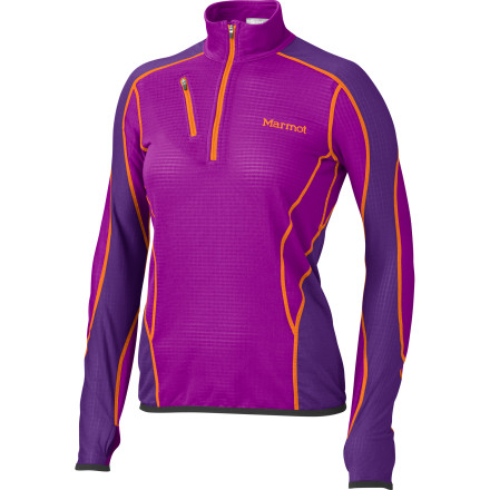 Fitness Whether you're layering up for a day on the slopes or headed out on a early-morning trail run, the Marmot Women's Thermo Fleece 1/2-Zip Pullover is your go-to choice for soft body-hugging warmth. A touch of Elastane allows the fleece to stretch for freedom of movement, and the zippered chest pocket keeps your valuables safely stowed and close at hand. - $109.95