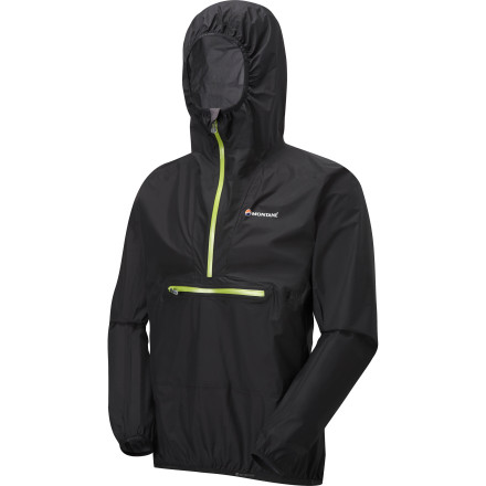 Camp and Hike From 20-mile trail runs to multi-day backpacking trips, be prepared for wet and windy weather with the Montane Men's Minimus Smock. The ultralight Pertex Shield supplies a high level of waterproof and breathable performance while the Lycra-bound hood stays put in windy conditions. Plus, this five ounce jacket packs into a tennis-ball-sized stuff sack so you'll always have space to bring it along. - $199.95
