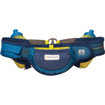 Camp and Hike If hasty gulps at occasional watering stations aren't meeting your race-day hydration needs, equip yourself with the Nathan Speed 2R Auto-Cant Hydration Belt. Lightweight and low-profile, this belt hugs your body for a bounce-free ride as it offers one-handed access to essential fluids and a few other necessities, so you can steer around the slowdowns where runners are desperately grabbing at little paper cups. - $54.95