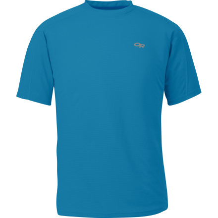 If the temps are warm and your plans include breaking a sweat, make sure you pull on the Outdoor Research Men's Torque Shirt. The moisture-wicking Polartec Powder Dry fabric combines with the mesh side panels to keep you cool and comfy when you're busting up the trail. - $58.95