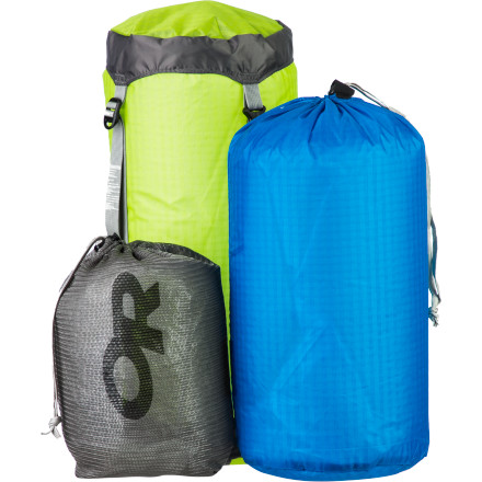 Camp and Hike Dedicated backpackers need a lightweight compression sack for their sleeping bag, a small organizer sack for random essentials, and a stuff sack to keep insulated layers contained. The Outdoor Research Ultralight Down Backpackers Kit not only includes all of these storage essentials, but all three are ultralight. Your feathery light down sleeping bag stashes away inside the UltraLight Compression Sack to save space, the Ultralight Stuff Sack keeps your performance mid-layer contained and easy to find, and the Mesh Ditty Sack wrangles all the random, small essentials in one place. A well-packed backpacking bag is nothing without organization, and this kit gives you exactly that. - $48.95