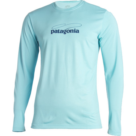 Fitness We know where your mind is atyour Patagonia Men's Graphic Technical Fish Long-Sleeve Tee tipped us off. Whether you're actually on the water or merely dreaming of it as you're trapped in errand-running hell, you'll be cool and comfortable in this breathable, wicking tee made from the Tropic Comfort fabric that boasts a soft, cotton-like hand. - $27.00