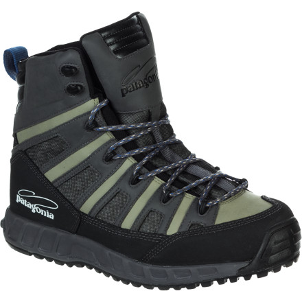 Camp and Hike Fishing a new river often requires you to cover a lot of ground before finding the action, which is why Patagonia designed the Men's Ultralight Wading Boot. The synthetic leather uppers are lightweight and have mesh panels to quickly expel water, allowing your feet to feel light and nimble when you move upstream. Plus, the Rock Grip soles are made from a special sticky rubber compound for stable and secure traction in the most treacherous of boulder gardens. - $179.00