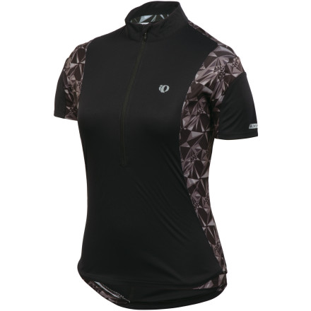 MTB The Pearl Izumi Divide Short Sleeve Jersey excels on warm-weather training rides thanks to the lightweight Transfer fabric, which offers exceptional moisture management by effectively wicking moisture and drying quickly. It also includes the special In-R-Cool technology that reflects the sun's rays to reduce surface temperatures on the fabric (up to 35 degrees F in direct sunlight) and provide UPF-50-rated protection. The Divide Jersey also has a 12-inch front zip that allows you to dump heat quickly on a brutal climb or when you're well into an all-day ride. Two back pockets hold your spare tube, a CO2 cartridge, and gel packs. A third sweat-proof pocket has been included so that you can keep your phone accessible and safe from damaging moisture. Extra support at the back pockets will keep them from sagging when fully loaded, and an elasticized gripper on the back has keeps the jersey fully in place. As usual, well-placed Pearl Izumi reflective elements will keep you visible at dusk. The Pearl Izumi Women's Divide Short Sleeve Jersey comes in Silt Kaleido, Pink Punch Kaleido, Peacock Kaleido, and Black Kaleido. It is available in X-Small through XX-Large. - $47.95