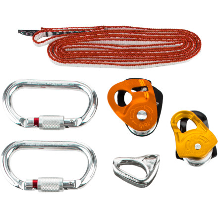 Climbing If your next adventure involves glacier travel on foot or skis, make sure you don't leave home without the Petzl Crevasse Rescue Kit. At just 13 ounces, the kit provides everything you need (except anchors) to set up an efficient hauling system or rope ascent. Innovative tools like the Micro Traxion pulley and Tibloc make this ultralight kit far more efficient and easy to use than traditional Prusik systems. - $160.00