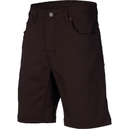 Camp and Hike The prAna Brion Shorts utilize crazy-tough nylon to keep you covered in outdoor conditions where cotton might rip, tear, or just leave you feeling sweaty or soggy. Durable construction means these shorts will stand up to desert excursions and deep-forest bushwhacking. Plus, thanks to their laid-back five-pocket design you'll look good when you're hanging out around town, too. - $64.95