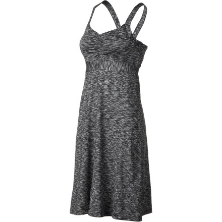 Entertainment Enjoy the comfort and support of the prAna Women's Amaya Spacedye Dress when you take in the holiday fireworks or learn how to swing dance at the town fair. The built-in shelf bra and removable molded cups add support so you don't have to worry about a bra. - $79.95