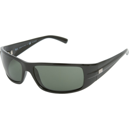 Camp and Hike You're a classic kind of guy. You like classic cars, classic rock, and the classic shape of Ray-Ban's RB4057 Polarized Sunglasses. Their wide, tapered temples, slightly wrapped shape, and soft-edge rectangular lenses go great with a restored frame and an epic '70s riff. - $164.95
