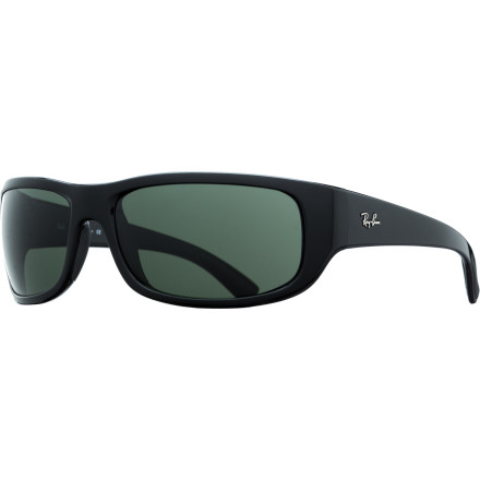 Camp and Hike The sporty, bold Ray-Ban RB4176 Sunglasses offer an active-friendly design with a comfortable, secure fit, thanks to a deep wraparound shape and sticky-when-wet nose and ear pads. - $128.95