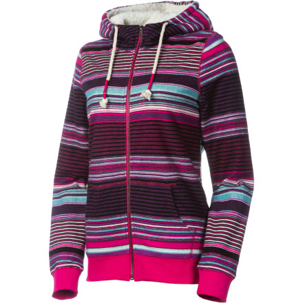 Surf Toss the Roxy Women's Bear Tracks Full-Zip Sweatshirt over your wetsuit while you wait for the rest of your crew. Its warm sherpa lining keeps you cozy while you study the surf, and large pouch pockets stash your car keys. - $42.25