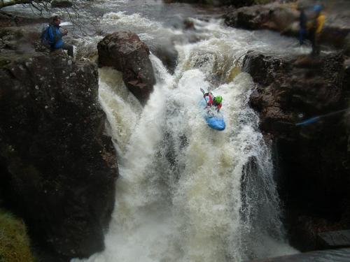 Kayak and Canoe Lower Falls on the River Nevis.