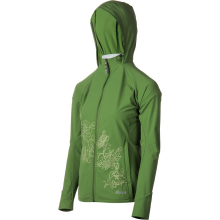 The sweet hooded Sherpa Adventure Gear Women's Kriti Softshell Jacket will flatter your feminine style and protect you against the elements with lightweight, supple strength. A single layer of softshell aptly shields you from rain, wind, and cold; articulated elbows, a sleek non-bulk design, and four-way stretch allow optimal freedom of mobility. And contoured seams and pretty lotus-flower screen print add subtle but unmistakably feminine style. - $54.00