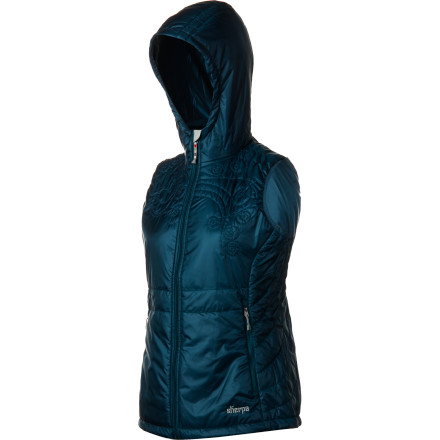 The Sherpa Adventure Gear Women's Maaya Hoodie Vest will first blow your mind with its slick, smooth feel, contoured fit, and beautiful quilted Tibetan cloud design. Then you will feel its warmth thanks to its light, lean Primaloft One insulation, cozy hood, stretch-bound armholes, and cinched hem. It fits like a dream under a shell and looks deliciously sporty and stylish on its own. From the mountainside to a swanky aprs scene, the Maaya is game for it all. - $77.00