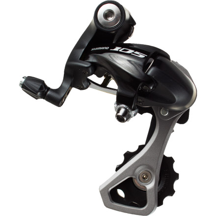 MTB As 105 adopts all of Shimano's best features year after year, the latest 105 components eclipse Dura-Ace and Ultegra from just a few years ago that, at the time, cost twice what today's 105 does. Case in pointthe Shimano 105 RD-5700 Rear Derailleur.The pivots on the body of the 5700 derailleur are wider than the previous model, and are thus better to resist flexing and twisting when you shift under load. That's the secret sauce for better, faster shifting. As always with 105, this is a trickle-down design from Ultegra. So that ultimately means that it will work with 6700 shifters without problem. It will also work with older Ultegra (6600 and SL) shifters. Compatibility aside, the differences between this derailleur and a Dura-Ace changer are many. The most obvious is that this 105 derailleur isn't as light. There's more metal, and the pulley cage is made from aluminum rather than carbon fiber. Also, the pulleys run on bushings instead of bearings. The cage design, along with the pulley cage placement, allows this derailleur to work with cogs as tall as 28 teeth -- nice for those who want a really low gear, yet still have fast shifting. The Shimano 105 RD-5700 Rear Derailleur is designed to work with double chainrings and 10-speed cassettes. The total chainwrap capacity is 33 teeth, The limit screws are on the back of the derailleur, just above the barrel-adjuster, and can be accessed from the rear. - $58.95