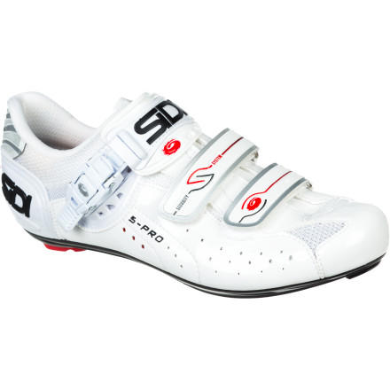 Fitness Sidi is the world's best-selling brand of road shoes, and the Genius 5 Pro Carbon is Sidi's best-selling road model. There's a reason. Its Lorica upper has all the benefits of leather with none of the negatives. Lorica is supple, conforming, breathable, and will not stretch. In addition, Lorica is water-repellent, highly abrasion resistant, easy to clean, and won't rot or dry out. Sidi combines Lorica with ballistic mesh to give you superb comfort, fit, and ventilation. The Genius 5 Pro Shoes are made with Sidi's Millennium 3 Carbon Composite sole. Unlike the nylon construction of the Millennium 2 sole, the Millennium 3 is created by injecting carbon fiber into a nylon matrix. This provides 37% greater stiffness than the Millennium 2, and it's more durable to boot. The Millennium 3 also features Sidi's replaceable, non-slip heel pad. The Genius 5 uses a ratcheting buckle so you can micro-adjust strap pressure to your liking. It's mated to a Soft Arch Compression Strap that more evenly spreads the upward stroke pedaling forces across the top of your foot. The buckle provides 4 clicks per uptake along with half-click releases to tension the pressure of the strap. The shoe is also secured with two High Security Velcro straps. The Velcro is reinforced with locking teeth to resist slippage. Combine these straps with a molded plastic heel cup and you end up with unmatched security. Its padded tongue with fit relievers is one final small (but important) detail that helps deliver unparalleled comfort over longer rides. Sidi Genius 5 Pro Carbon Shoes are available in White Vernice and come in sizes between 38 and 52 European. - $191.96