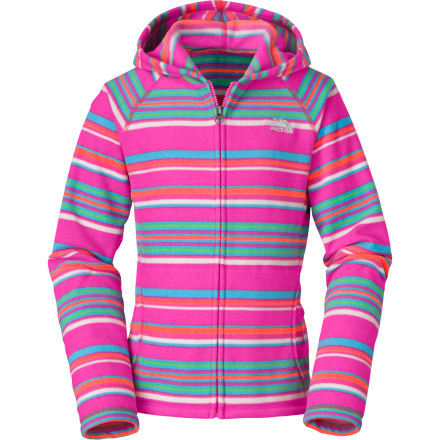 Fitness Slide on The North Face Girls' Glacier Striped Full-Zip Hoodie for a bit of extra warmth on the trail. - $49.95
