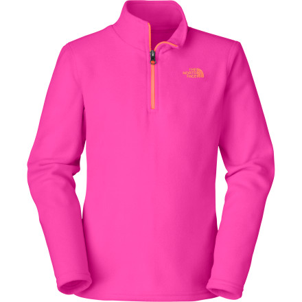 Entertainment When spring temperatures require more than just a long-sleeve T-shirt, slip into The North Face Girls' Glacier 1/4-Zip Fleece Pullover. - $39.95