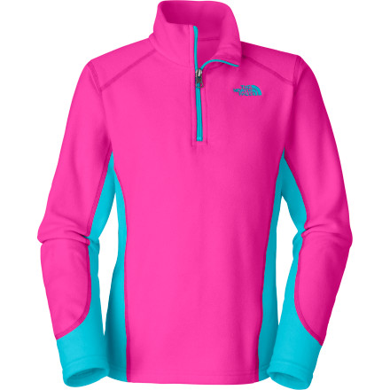 Camp and Hike Hike, bike, camp, or just lounge in the backyard hammock when you wear The North Face Girls' Glacier Micro 1/4-Zip Fleece Pullover. - $39.95