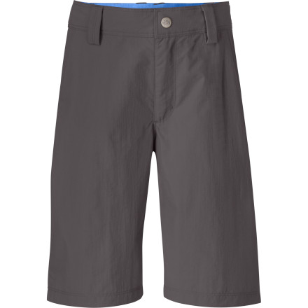 Camp and Hike The North Face Voyance Hiking Shorts can handle all the abuse that Junior can dish out. The durable nylon ripstop fabric dries quickly after a summer squall so you can hike right through the weather, and the adjustable waistband means the Voyance will keep up with your little explorer as he grows. - $31.95