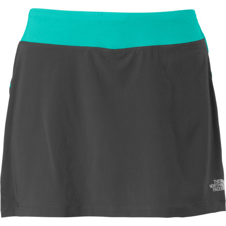 Fitness All those weeks of work are finally paying off; celebrate your final week of training for the first race of the season and take to the trails in The North Face Women's Eat My Dust Skirt. In this flirty, fun, but ultimately athletically oriented skort you'll feel as good as you look because the stretchy boy short won't chafe or bunch, and the outer skirt stretches with your every move. Come to think of it, it could be the perfect bottom for race day, too. - $54.95