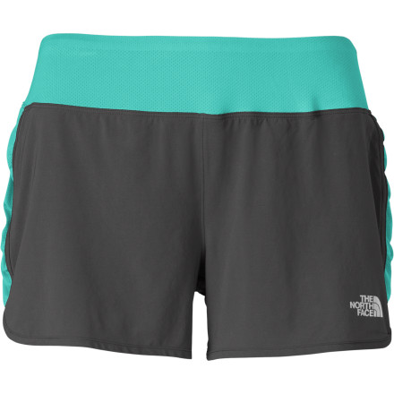 Fitness Athletic shorts can have a feminine side, too, as demonstrated by the The North Face Women's Eat My Dust Short. Light, stretchy material, a wide waistband, and a flattering fit help you stride, sprint, and cool down in total comfort and style. - $44.95