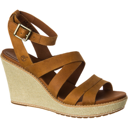 Surf For some extra height and a look that complements your unique summer style, look no further than the Timberland Women's Earthkeepers Danforth Jute Wrapped Sandal. The three-inch polyurethane wedge is exceptionally lightweight and wrapped in natural jute for a casual feel, while the rubber lugged sole provides enough traction to confidently cruise your favorite city streets. - $103.96