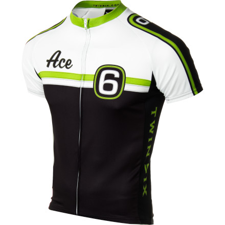 Fitness Win some, lose some; that's how it goes. Let the world know you're always game in the Twin Six Men's Ace Jersey. With three generous rear pockets, your riding essentials are easily accessible. Polyester microfiber provides smooth comfort and wicks away sweat, and an invisible full zip gives you climate control, so you keep your cool while raising your stakes on the road.Soft polyester microfiber wicks away sweat, dries quickly, and feels smooth against skin Full-length invisible zipper gives you streamlined and sleek coverage control  Three deep back pockets hold goodies, tire pump, or other essentials right at hand - $79.95