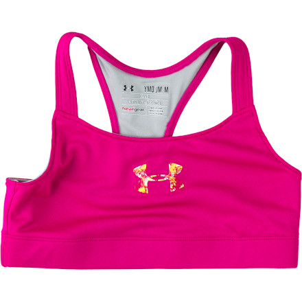 Fitness The Under Armour Girls' Heatgear Dazzle Sports Bra gives you the ideal amount of support, comfort, and breathability while you attend dance class, practice yoga, or work on your soccer skills. - $21.95