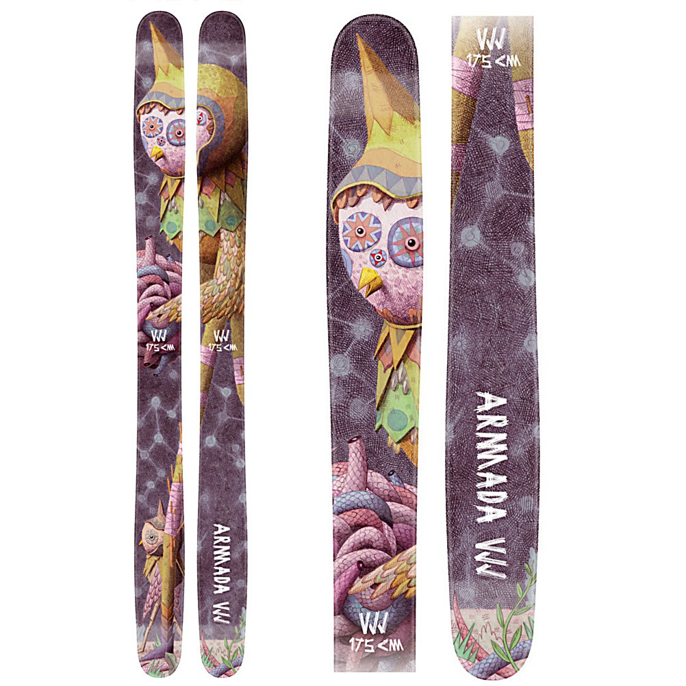 Ski Armada VJJ Womens Womens Skis - For every girl on the slopes that has no problem leading the pack and the first one ready to charge the next lap you now have a ski that is calling your name with the Armada VJJ Powder Skis. With patented EST Freeride Rocker, moderate tip and tail rocker with camber underfoot, the VJJ is a superior backcountry and power weapon just for you. The EST freeride Rocker is combined with AR50 construction to make a ski that can float in the deepest blower powder and without having to down shift charge right into chop and crud with power and confidence. To keep the VJJ light and poppy Armada developed the Hybrid Ultralight Core and then added a CK stringer, a carbon/kevlar weave, for vibration control when you are rocking out and mach ten and for additional pop when you are launching a cliff or a backcountry booter. A true and properly designed ski for ladies who have an unmatched passion for skiing who are as proficient as slaying big lines as they are turning down dirty ski bums at the local bar the VJJ finally offers you the perfect ski for charging. Heck, with a name like the VJJ it can even help you separate men from immature boys at the bar when you tell them you ski the VJJ, say it fast and see what we mean. . Tip/Waist/Tail Widths: 126/136/115/133/123mm (@175cm), Actual Turn Radius @ Specified Length: 14m (@175cm), Warranty: One Year, Type: Powder Skis (111+), Gender: Womens, What Binding is Included?: None, Construction Type: Cap/Sidewall, Core Material: Wood, Base Material: - $499.96