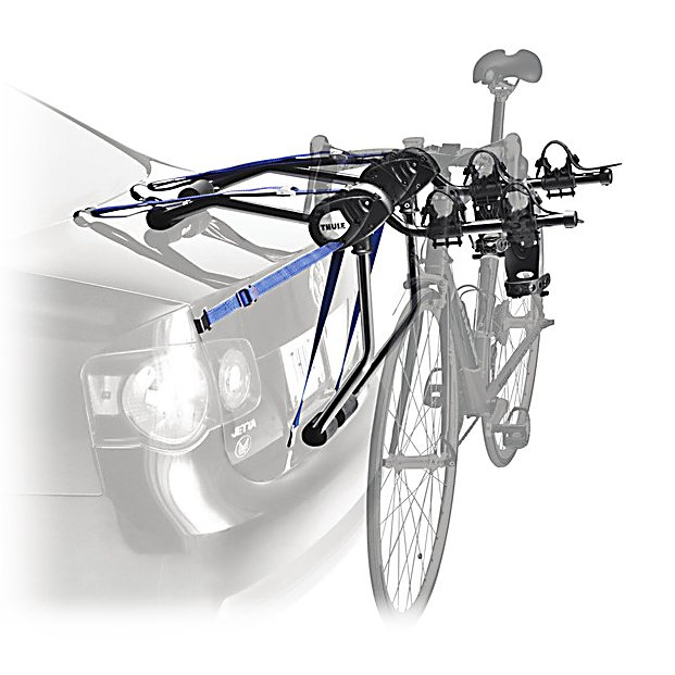 Kayak and Canoe Thule Passage 2 Bike Rack - The Thule Passage 2-Bike Bike Rack is a great rear-mounted bike carrier capable of hauling 3 bikes up to your destination safely and securely. Packed full of features, this Passage Bike Rack ensures your vehicles and bikes remain protected. The patented FitDial is a main feature providing you with the ability to create a perfect fit for your vehicle. The SoftCushion Pads help protect the trunk and the hatch from any damage during transport and an Anti-Sway feature keeps the bikes from hitting one another. Vinyl-Coated Buckles will hold firmly while also ensuring your car suffers no scratches. Even the arms that holds the bikes can fold down when not in use. Convenience and easy-to-use is what Thule is all about and the Thule Passage 2-Bike Bike Rack is no exception. Features: Six Strap System. Mount Type: Trunk, Bike Capacity: 2, Fork Mount: No, Model Year: 2013, Product ID: 265633, Shipping Restriction: This item is not available for shipment outside of the United States. - $111.55