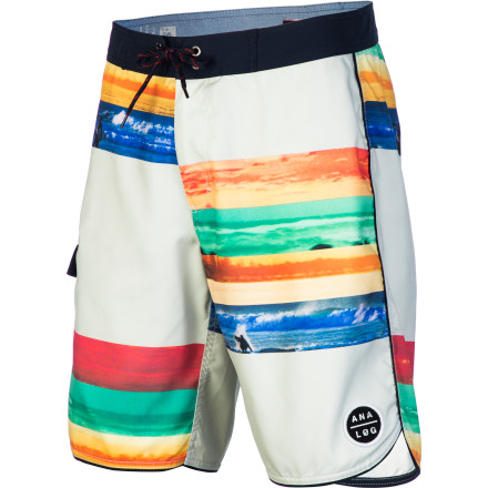 Surf The Analog Chroma Board Short rocks a sweet sublimated photo print from photography legend Michael Halsband. A 19-inch outseam offers a modern look, and super-soft poly microfiber fabric ensures quick-drying comfort on land or sea. - $43.16