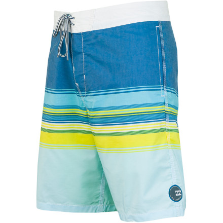 Surf The Billabong Spinner Board Short features a retro stripe pattern, modern 18-inch inseam, and a super-soft cotton/poly blend fabric complete with hand pockets for everyday practicality, and a zippered rear pocket for security while surfing or skating. - $54.95